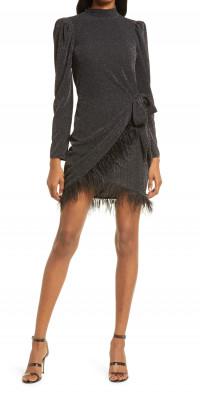 Saylor Quin Metallic Feather Trim Long Sleeve Minidress