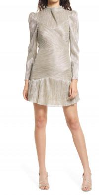 Saylor Saydee Metallic Long Sleeve Minidress