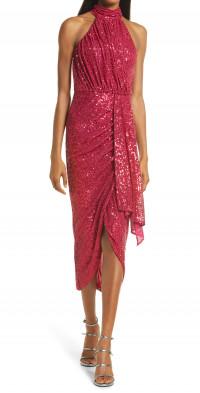 Saylor Shana Sequin Asymmetric Midi Dress