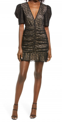 Women's Saylor Reena Ruched Lace Cocktail Minidress