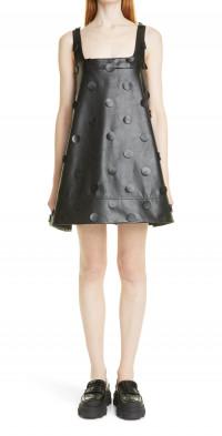 Shushu/Tong Dot Faux Leather A-Line Dress