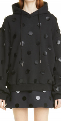 Shushu/Tong Dots Applique Cotton Hoodie in Black at Nordstrom