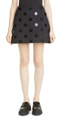 Shushu/Tong Polka Dot Applique Miniskirt