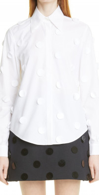 Women's Shushu/tong Dots Applique Cotto Poplin Button-Up Shirt
