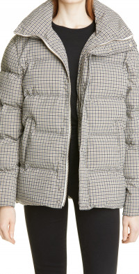 STAUD Ace Plaid Stand Collar Puffer Coat