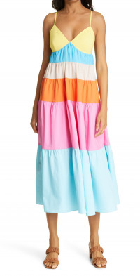 STAUD Cleo Colorblock Sundress
