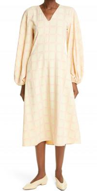 Stine Goya Rosen Grid Long Sleeve A-Line Dress