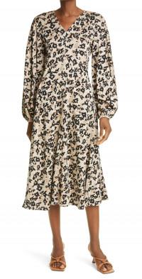 Stine Goya Rosen Long Sleeve Floral Knit A-Line Dress