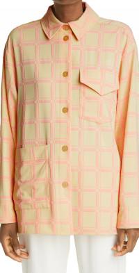 Stine Goya Silvi Texture Grid Oversize Button-Up Shirt