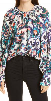 Tanya Taylor Charlene Floral Silk Blouse