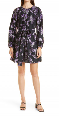Tanya Taylor Elisabeth Floral Jacquard Long Sleeve Cotton & Silk Dress