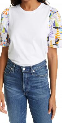 Tanya Taylor Elle Sailboat Print Detail Cotton Top