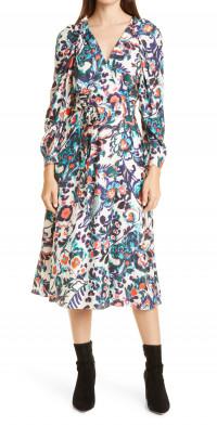 Tanya Taylor Justine Floral Long Sleeve Silk Dress