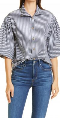 Tanya Taylor Kenna Wide Sleeve Cotton Button-Down Shirt