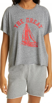 THE GREAT. The Crop Boat Graphic Tee