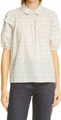 THE GREAT. The Embroidered Dot Mare Top