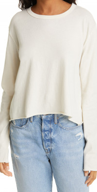THE GREAT. The Long Sleeve Crop Tee