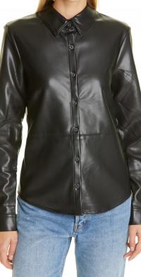 The Range Plush Faux Leather Button-Up Shirt