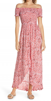 Tiare Hawaii Cheyenne Off the Shoulder Cover-Up Maxi Dress in Floral Dot Red at Nordstrom