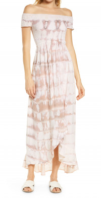 Tiare Hawaii Cheyenne Off the Shoulder Cover-Up Maxi Dress in Light Mauve/Stone Beat at Nordstrom