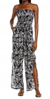 Tiare Hawaii Francine Batik Cover-Up Strapless Jumpsuit in Java Batik Black/White at Nordstrom