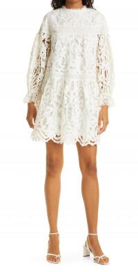 Ulla Johnson Albertine Linen & Cotton Lace Long Sleeve Dress