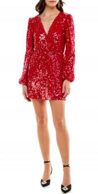 WAYF Carrie Sequin Long Sleeve Minidress