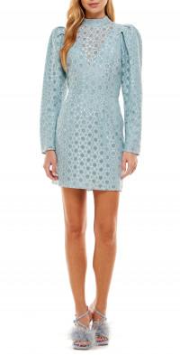 WAYF Elan Lace Metallic Puff Sleeve Minidress