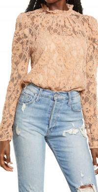 WAYF Emma Puff Sleeve Lace Bodysuit