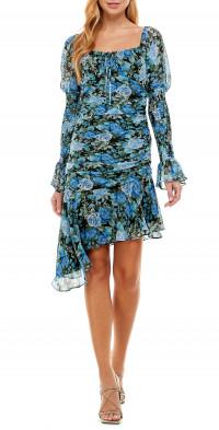 WAYF Rosie Ruched Long Sleeve Minidress