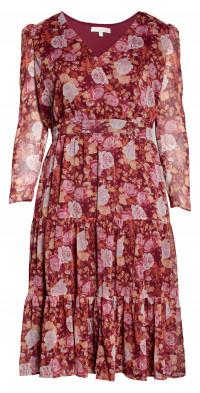 WAYF Roxanne Tiered Puff Sleeve Midi Dress