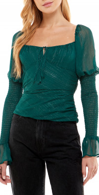 WAYF Ruched Puff Sleeve Top