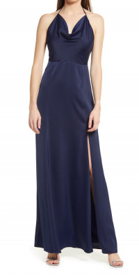 WAYF The Aurora Halter Neck Satin Maxi Dress