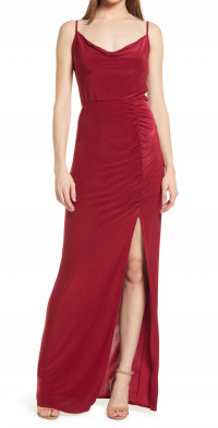WAYF The Layla Ruched Cowl Neck Gown