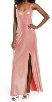 WAYF The Mina Metallic Ruffle Strap Gown