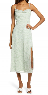 WAYF The Skylar Cowl Neck Midi Dress