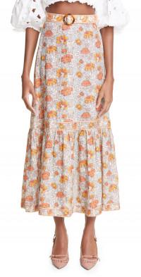 Zimmermann Andie Floral Belted Linen Skirt