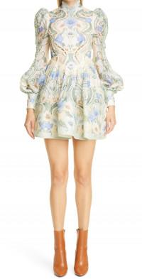 Zimmermann Rhythm Poppy Cuout Long Puff Sleeve Dress