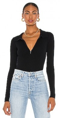 Ribbed Cashmere Collared Bodysuit