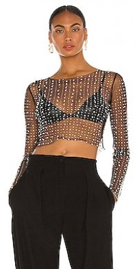 Look and Glisten Pearl Mesh Top