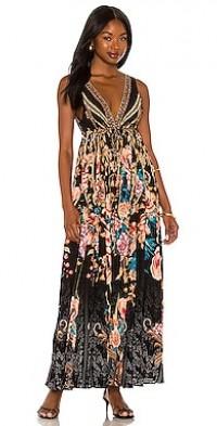 Long V-Neck Drawstring Dress