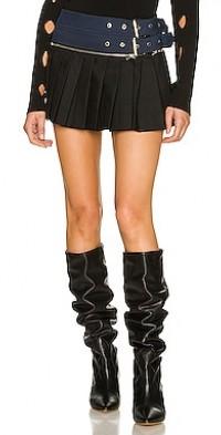 Belted Pleat Mini Skirt