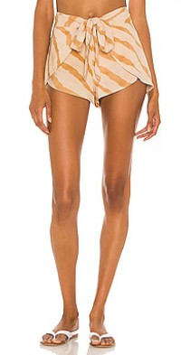Palm Printed Tie Front Wrap Short