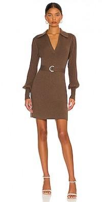 Adara Knit V-Neck Long Sleeve Mini Dress with Collar