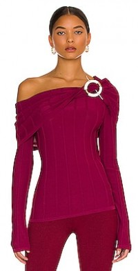 Aglaia Knit Drop Shoulder Long Sleeve Top with Ring