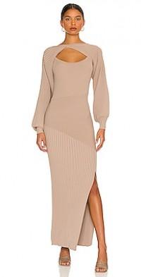 Alixia Mixed Rib Knit Long Sleeve Midi Dress Set