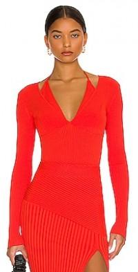 Amara Knit Halter Mixed Rib Long Sleeve Top