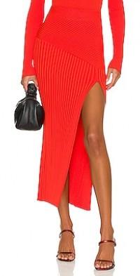 Amelia Mixed Rib Knit Midi Skirt