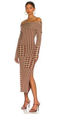 Anastasia Knit Long Sleeve Off The Shoulder Midi Dress