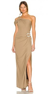 Cory Asymmetric Twist Gown with Ring